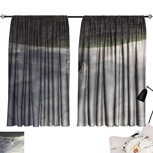 Jinguizi Privacy Assured Window Treatment Darkening Curtains Surrealistic,Upside Down World,Curtains,Extra Curtain Doorway W84 x -