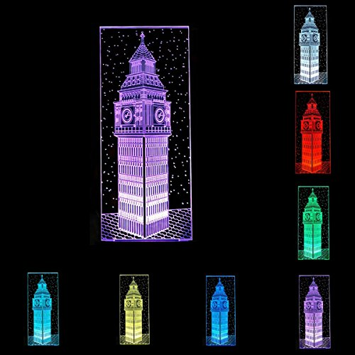 Julitech 3D Visual Creative LED Lamp 3W for Kids Night Lights Big Ben 7 Colors Touch Switch Control Art Lights for Night Light Baby Children Adults for Baby Bedroom Nursery Birthday Gift