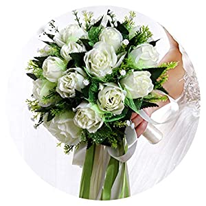 Barry-Home Ramos de Novia White Rose Bridal Bouquet Wedding Flowers Romantic Silk Wedding Bouquets for Brides 72