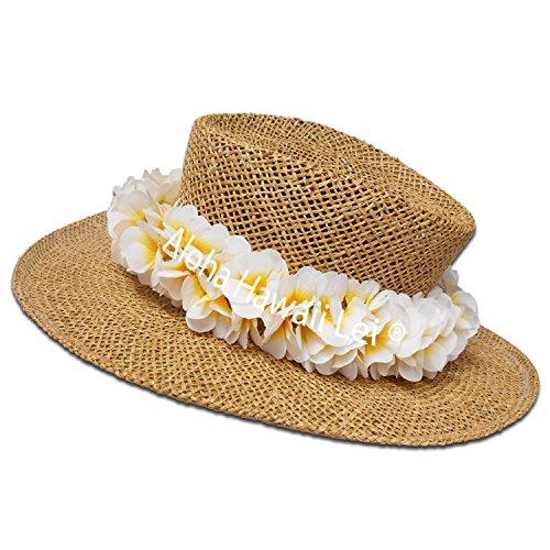 HAWAIIAN WHITE SILK PLUMERIA POEPOE HAKU HEAD LEI/ HAT BAND ( Hat Not - Maui Shop Head