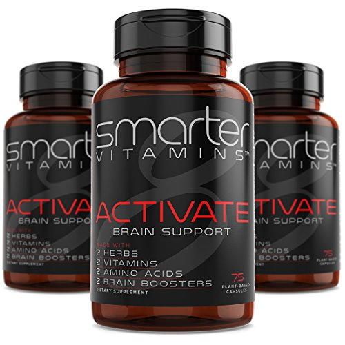 (3 Bottles) SmarterVitamins BRAIN SUPPORT Supplement Promotes Memory + Clarity, Brain Health + Function W/ L-Tyrosine, L-Carnitine, Bacopa 50%, Alpha-GPC, L-Dopa, Theanine, Vitamin B3 and B6 by SmarterVitamins