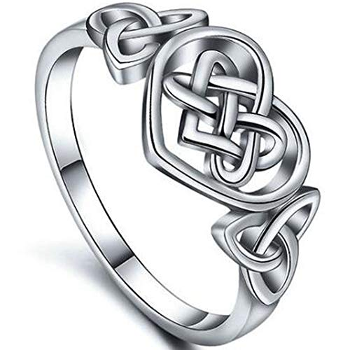 Jude Jewelers Stainless Steel Celtic Love Knot Statement Anniversary Promise Ring (Silver, 7)