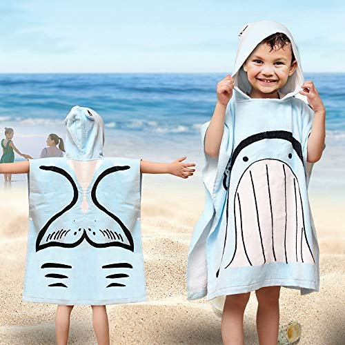 SearchI Hooded Beach Towels for Kids Toddlers Boys Girls 1 to 6 Years Old, Soft Absorbent Cotton Fast Drying Poncho Bath Towel for Swim Pool, Whale 24 x 24 Inches]()