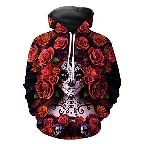 URVIP Unisex Hoodie 3D Printed Sweatshirt with Big Pockets Hooded Pullover QZ167 S