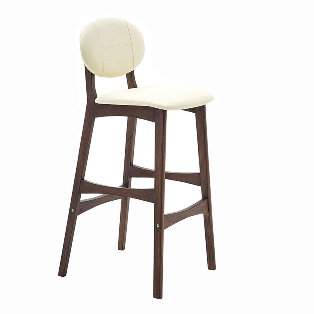 Beige B LJFYXZ Bar Stool Bar Furniture with backrest Solid Wood Dining Chair bar Chair PU Cushion Ergonomic Design Bearing Weight 200kg 75cm high (color   Black, Size   A)