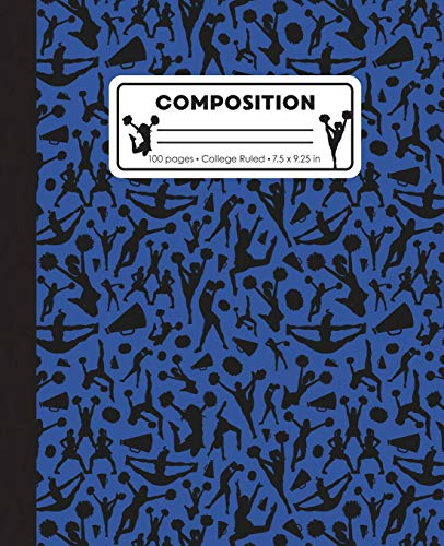 Composition: College Ruled Writing Notebook, Blue Cheerleading Cheer Pattern Marbled Blank Lined Book por LilaMae Press