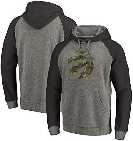 QAZ Hoodie Champion Toronto Raptors Herren Jersey Langarm T-Shirt Bedrucktes Kapuzenoberteil Lässiges, Bequemes Sweatshirt T-Shirt,Grey-S