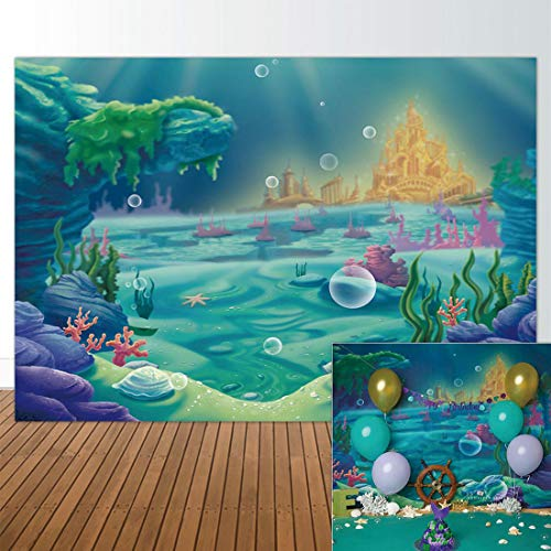 Allenjoy 7x5ft Fabric Backdrop Under The Sea Little Mermaid Ocean Nautical Birthday Party Banner Photo Studio Booth Photography Background Newborn Baby Shower Photocall