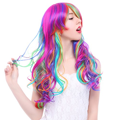 ROLECOS Womens Gothic Wig Long Wavy Hair Synthetic Wigs Multicolor Rainbow -