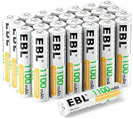 EBL AAA Rechargeable Batteries (28-Counts) Ready2Charge 1.2V 1100mAh Ni-MH Battery