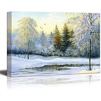 Amazon com: Canvas Prints Wall Art - Beautiful Winter Landscape with