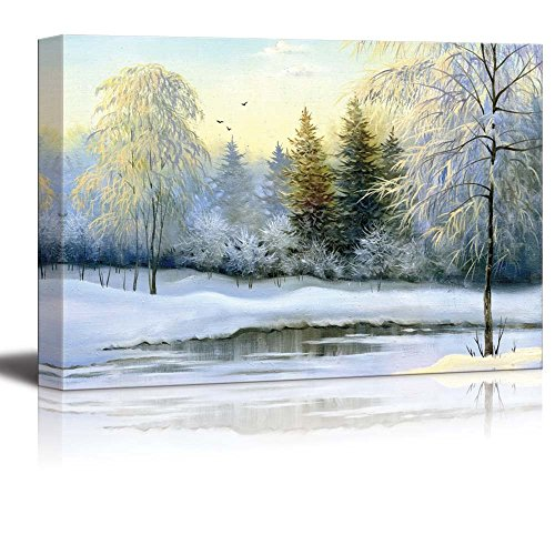 - Canvas Prints Wall Art - Beautiful Winter Landscape, Canvas, Oil - 16