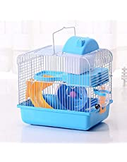 JUILE YUAN 2-Tier Portable Travel Cage for Small Animals, Dwarf Hamster Travel Carrier with Carry Handle Exercise Wheel Water Bottle and Food Dish, 6.7 x 11.8 x 9.1 Inch (Blue)