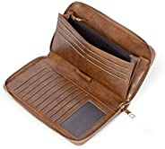 CLUCI Women Wallet Large Leather Designer Zip Around Card Holder Organizer Ladies Travel Clutch Wristlet