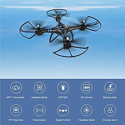 AKASO A31 Quadcopter Drone with Camera, Bright LED,FPV WiFi RC Drone with 1080P HD Camera Live Video,Easy to Use for Kids Beginners Adults