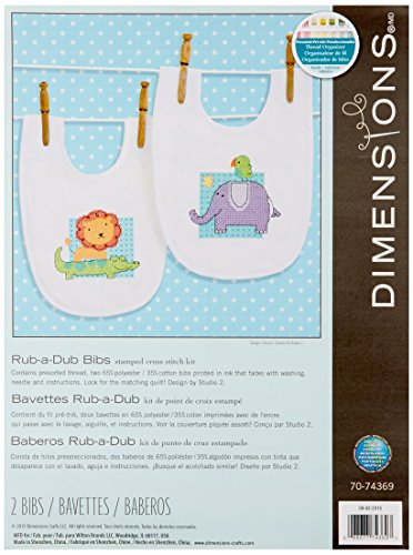 Dimensions Needlecrafts 70-74369 Rub-A-Dub Bibs Stamped Cros