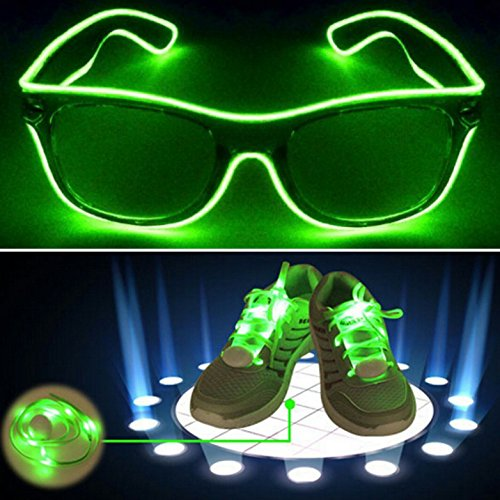 Light Up El Wire Glasses Shades And Shoe Laces - Green
