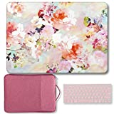 MacBook Air 13 Inch Case Bundle Older Version Compatible A1369/A1466 2008-2017 Release NO Touch ID, GMYLE Hard Matte Shell, Pink Protective Canvas Carrying Sleeve & Keyboard Cover - Vintage Flowers