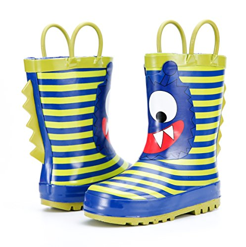 KushyShoo Boys and Girls Rubber Rain Boots In Fun Prints,Waterproof Kids Wellies