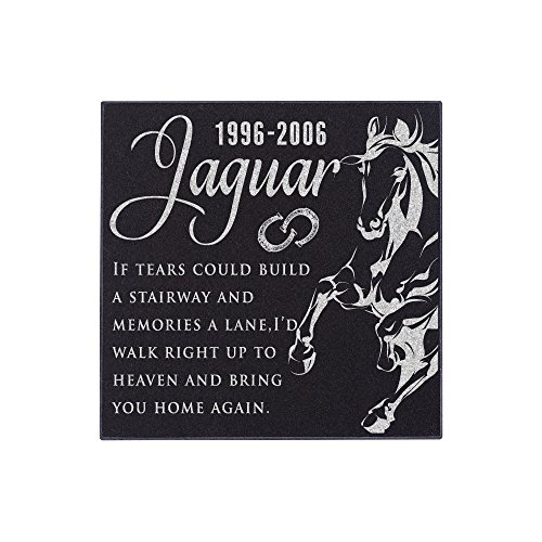 Personalized Pet Memorial Stone - Granite Horse Grave Marker | 3 Size Options |Sympathy Poem, Loss of Dog Gift, Indoor - Outdoor Tombstone Headstone - Grave Marker w/Pet Name and Dates (Markers Tombstones Pet)