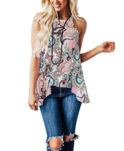 MIROL Womens Summer Sleeveless Halter Neck Floral Printed Irregular Hem Asymmetrical Tunic Tops Blouse