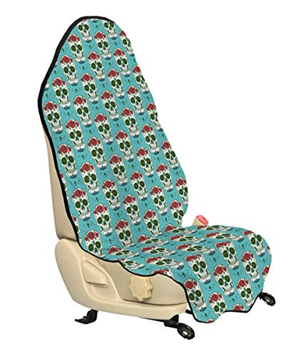 Ambesonne Skull Car Seat Cover, Religious Symbols and Roses on Skull South American Culture Vintage Style, Car and Truck Seat Cover Protector with Nonslip Backing Universal Fit, Seafoam Ruby Green
