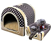 WowowMeow Pet Portable Warm Cave House Bed with Cozy Mat for Dog Cat (M, Polka Dot)