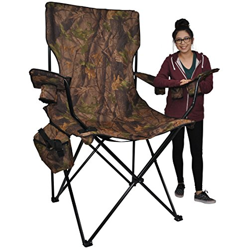 Prime Time Outdoor Giant Kingpin Folding Chair Chair Hunter Camouflage With 6 Cup Holders Cooler Bag and Portable Carrying Case (Hunter Camo) -
