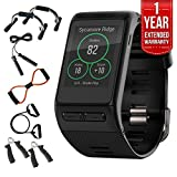 Garmin (010-01605-04) vivoactive HR GPS Smartwatch - X-Large Fit - Black w Fitness Bundle Includes - 7-in-1 Total Resistance Fitness Kit + 1 Year Extended Warranty