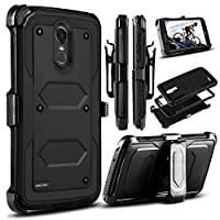 LG Stylo 3 Case, LG Stylus 3 Case, LG Stylo 3 Plus 2017 Case, Venoro Heavy Duty Shockproof Protection Case Cover with Swivel Belt Clip and Kickstand for LG LS777 / MP450 / M430 (Black)