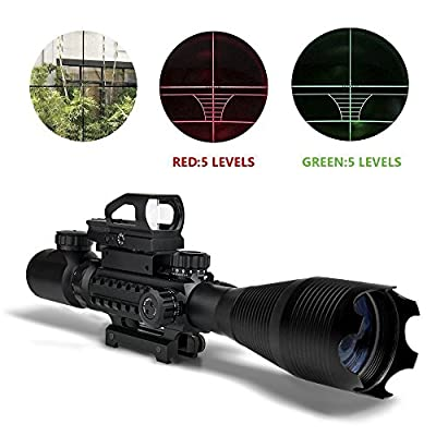 AR15 Scopes and Optics, Saige Hunting Tactical Rifle Scope Combo C4-16x50EG with Green Laser and Holographic Red&Green Dot Sight for 22&11mm Weaver/Picatinny Rail Mount-12 Month Warranty (with HD104)