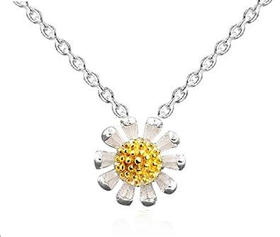 ladies sterling silver simple Elegant diamond daisy pendant necklace .for women girls .(f1429) VokZQyRK