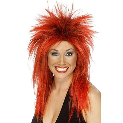 Uwant Fashion Rock Diva Ladies Fancy Dress Punk Wig 1980S 80S Accessory Bright Red by Uwant Fashion (80s Womens Fancy Dress)