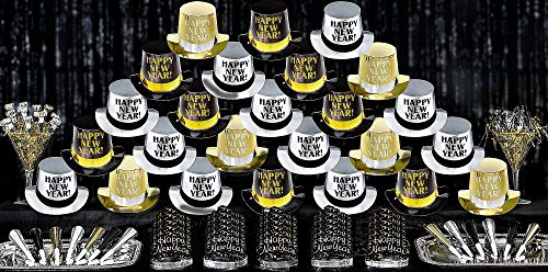 Amscan Elegant Celebration New Year's Party Kit for 50, Includes Top Hats and Glitter Tiaras