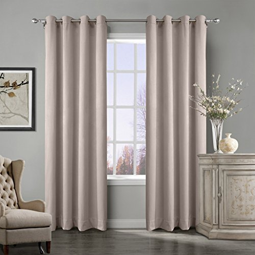 COFTY Super Soft Matt Luxury Heavyweight Velvet Curtain Drape with Blackout Thermal Lining Gray Beige 50Wx102L Inch(set of 2 panels) - Nickle Grommet by COFTY