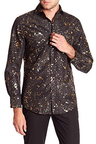 Suslo Couture Foil Slim Fit Button Down Shirt (Black, Small) ()