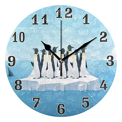 WXLIFE Cute Animal Penguin Iceberg Round Acrylic Wall Clock, Silent Non Ticking Art Painting for Kids Bedroom Living Room Office School Home Decor