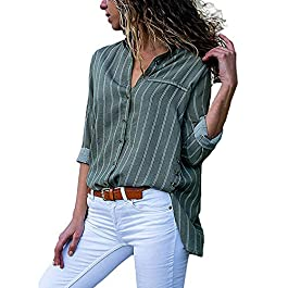 vermers Women Shirts Ladies Work Office Dot Print Gray Casual Long Sleeve Blouse Tops