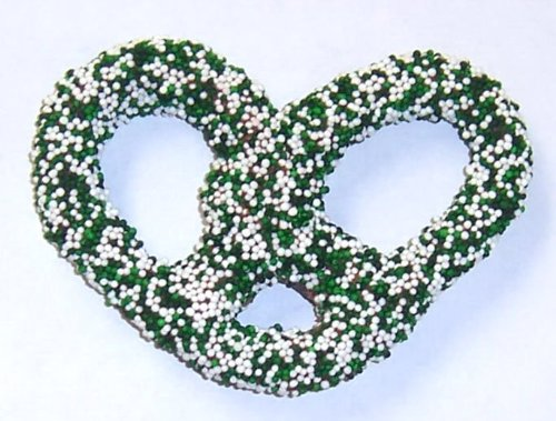 Scott's Cakes Milk Chocolate Covered Pretzels with St. Patrick's Day Holiday Non-Pareils in a 1 Pound White Bakery Box