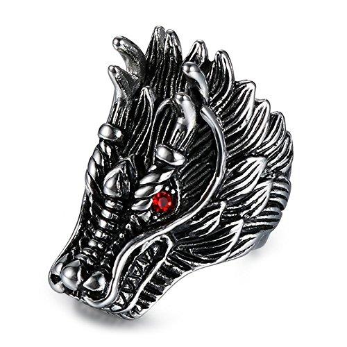 (Beydodo Mens Titanium Ring Celtic Stainless Steel Punk Rock Chinese Dragon Ring Red Eyes Size)