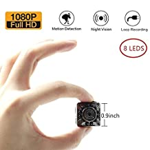 Moosoo 1080P/720P HD 8 LED Infrared Night Vision Motion Detection Camera Nanny Cam Home Security Camera SD Card Storage