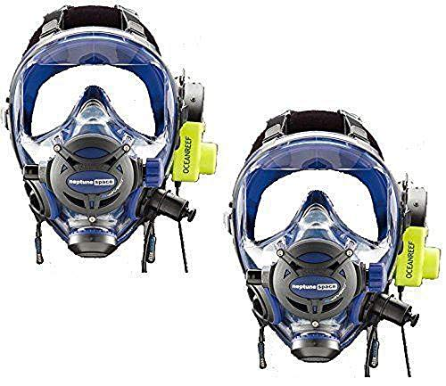 OCEAN REEF BUDDY COMMUNICATION COMBO - Neptune Space G. Divers Full Face Scuba Diving Mask with GSM Diver Communication Units 2 Masks 2 Com Units Blue Size M/L - Mask Space Full Neptune Face