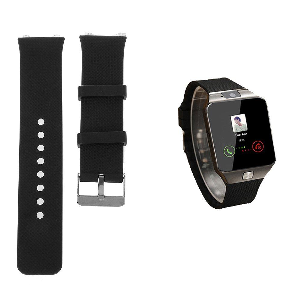 Jiamins Correa de Silicona para Reloj de Pulsera, Hebilla de Metal, Repuesto para DZ09 Smart Watch Strap