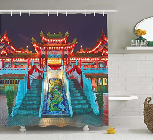 Ambesonne Home Decor Collection, Colorful Ethnic Temple with Lanterns at Night Celebration Happiness Asian Scene Wall Design, Polyester Fabric Bathroom Shower Curtain, 75 Inches Long, (Asian Design)