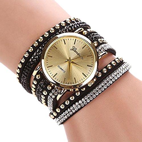 Sannysis Frauen-Kristall Niet Armband geflochtenes Wickel Wrap-Armbanduhr