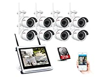 ANRAN 960P Wireless Security Camera System 8CH WIFI NVR with 12 inch LCD Screen, 8 x 1.3MP Cameras IP66 Metal Case Night Vision Home Safety Motion Detection Recorded 2TB Hard Disk Easy Remote Access
