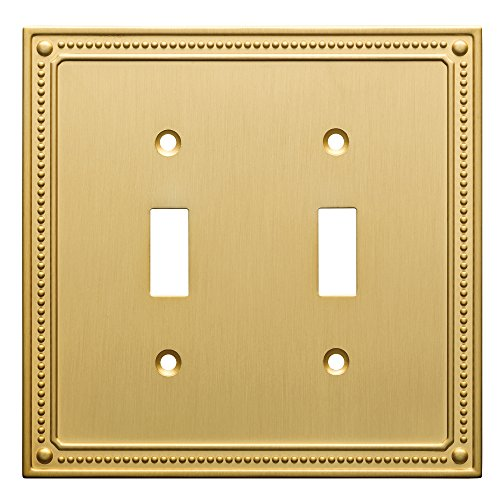 (Franklin Brass W35061-BB-C Classic Beaded Double Switch Wall Plate/Switch Plate/Cover, Brushed Brass)