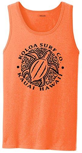 Skateboard Tank - Koloa Hawaiian Honu Turtle Logo Tank Top-Neonorange/b-L