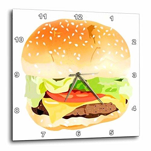 (3dRose DPP_43705_1 Giant Hamburger and Bun Wall Clock, 10 by 10-Inch)
