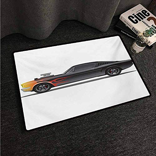 HCCJLCKS Welcome Door mat Cars Custom Design Muscle Car with Supercharger and Flames Roadster Retro Styled Super Absorbent mud W16 xL24 Charcoal Grey - Shift Roadster